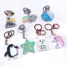 2021 Custom Logo Design Printed Charms Keyring Rainbow Stars Glitter Acrylic Keychain