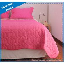 Pink Solid Color Polyester Quilt Set
