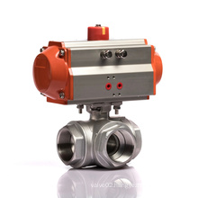 DN40 T type KLQD brand pneumatic operated stainless steel 3 way ball valve with limit switch Q614F