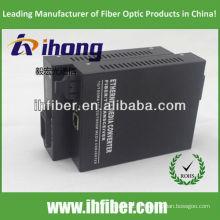 10/100 / 1000M Fibra Óptica Media Converter singlemode dupla fibra SC porta 20 km