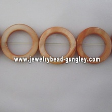 orange donut shape fresh water shell beads