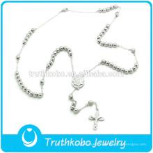 TKB-JN0035 À La Mode Top Qualité En Acier Inoxydable Catholique Chapelet De La Vierge Marie Crucifix Prière Perles