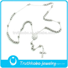 TKB-JN0035 Trendy Top Quality Stainless Steel Catholic Rosary Necklace Virgin Mary Crucifix serenity prayer Beads