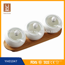 3 pcs ceramic round spice jar Salt & Pepper jar with wooden tray