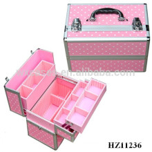 high quality pink aluminum cosmetic case