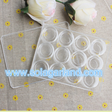 Clear Plastic Jewelry Storage Box With 12 Small Round Cylindrical Containers