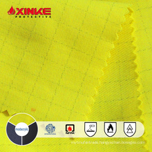 Hi-vis yellow FR modacrylic fabric with anti-static for safety workwear