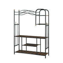 Steady and Durable Book Shelf Living Room TV Stand Rack Trolley with Iron Art