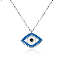 Bijoux Femme Acier Inoxydable Bleu Evil Silver Eye Pendentif Collier
