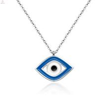 Mulheres Jóias Aço Inoxidável Azul Evil Silver Eye Pendant Necklace