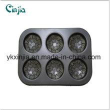 6 Cup Flower Cake Pan Nonstick Carbon Steel Six Cup Bakeware