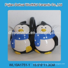 Tarro de especias de cerámica promocional con figura de pingüino