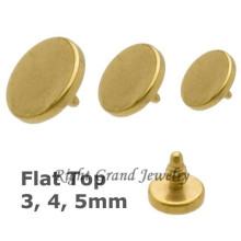 4 мм круглый диск Титан Золотой якорь дермального топы