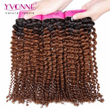 Two Tone Color Kinky Curly Ombre Brazilian Hair