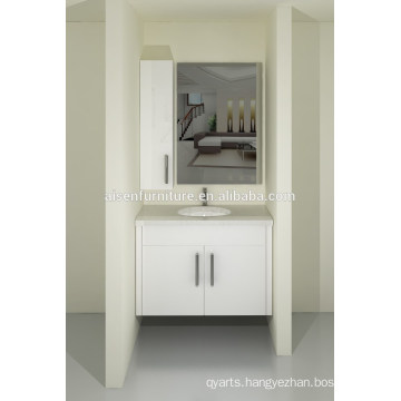 Australia Style Modern Bake Painting Lacquer Wall Mounted Bathroom Vanity Cabinet Set with Quartz Countertop for Sale