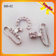 BB02 Manufacture High Quality Metal Shiny Silver color handbag Snap Hook With stone