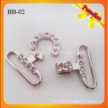 BB02 Производство Высокое качество металла блестящий Серебряный цвет сумки Snap Крюк С камнем