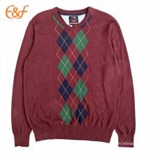 Patrón de diamantes para hombre Argyle Sweater de Borgoña