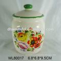 Venta al por mayor de diseño de cerámica de almacenamiento de alimentos de contenedores con calcomanía