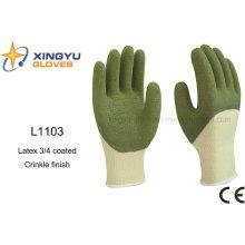 10g Latex de poliéster de alto grado 3/4 guantes de trabajo de seguridad de arrugado recubierto (L1103)