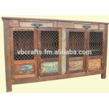 recycle wood iron jali sideboard