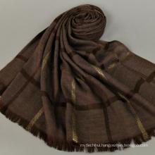 Casual style wholesale price stripe pattern long 180*80 cotton stole dubai tudung shawl scarf