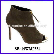 2014 hot selling rubber high heel shoe woman boot