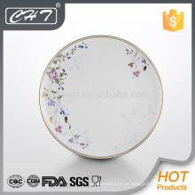 A062 Blume Knochen Porzellan Geschirr Platte mit Goldrand