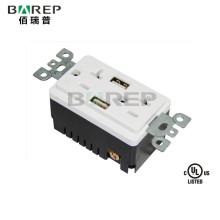 BAS20-2USB Universal standard grounding socket GFCI usb power outlet