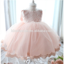 2016 new design hot sell pink color lace wester wear dress girl wedding wholesale