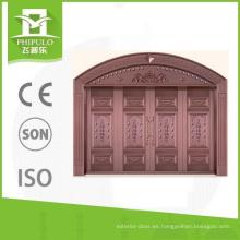 La puerta principal de la villa de imitación de cobre de estilo especial diseña con protección solar