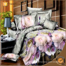100% polyester bed sheet king bedroom set cheap whole home comforter sets reactive flower printed 3d bedding set