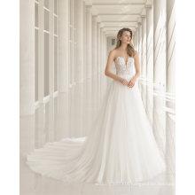 Strapless Lace Gauze Beading Wedding Dress