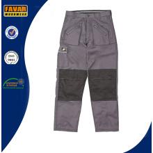 Pantalones de trabajo duradero de algodón Cordura Pantalones de trabajo de construcción gris