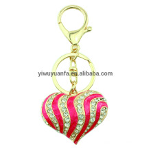 High quality peach heart crystal keychain