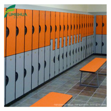 hpl compact laminate furniture phenolic resin locker with changing room bench
