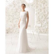 Capped Sleeve Sequin Satin Sheath Wedding Dress (RS017)