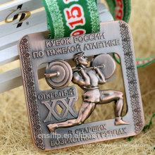 70mm Zinklegierung Casting Antik Bronze benutzerdefinierte Powerlifting Logo Metall Sport Medaille