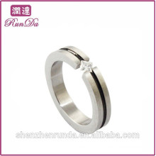 Anéis simples de diamante de aço inoxidável para senhora solteira