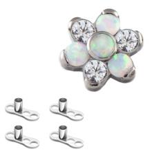 Titanium Kubikzircon Opal Blume Haut Taucher kostenlose Probe Körper piercing Schmuck