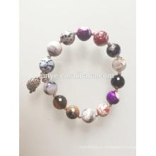 Bohème coloré Agate onyx pierres précieuses perles Bracelet