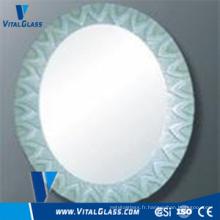 Miroir rond en argent flottant transparent pour miroir de salle de bain