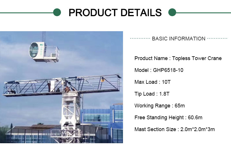 tower crane 65m jib
