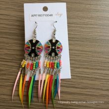 Colourful Feathers Fabric Metal Earrings with Feathers