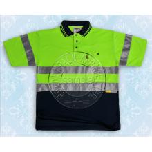 Gelb Reflektierende Tape Sicherheit Kontrast Polo Shirt