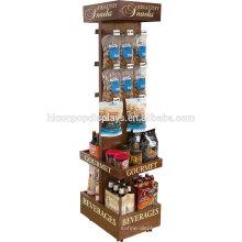 Supermarket Beverage Commercial Red Wine Holder Freestanding Wood Beer Retail Display Rack