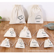 eco friendly reusable storage gift tote bag small canvas dust draw string bags white black cotton drawstring bag