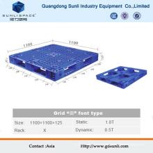 Paleta de almacenamiento de plástico resistente de superficie de rejilla