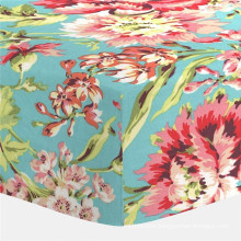 Coral and Teal Floral Crib Fitted Bed Sheet