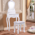 european style white dressing table with 3 drawers